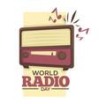 world radio day retro music broadcasting device vector image