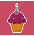 pink cupcake chips with cherry candle birthday vector image