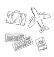 Travel icons with plane bag tickets and passport vector image