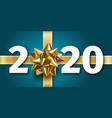 2020 happy new year blue background with golden vector image vector image