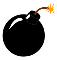 a classic cartoon style black round bomb lit on vector image