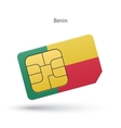 Benin mobile phone sim card with flag vector image vector image