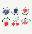 berry set and lettering vector image
