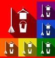 broom bucket and hanger sign set of vector image vector image