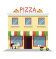 cafe building facade customer pizza serving dish vector image vector image
