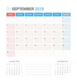 calendar planner for september 2018 vector image vector image