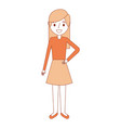 cartoon woman female smiling character vector image