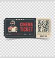 cinema ticket with qr code vector image vector image