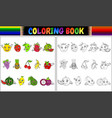 coloring book with cute cartoon fruits vector image