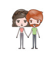 crayon colored silhouette of slim couple standing vector image