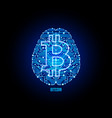 crypto currency bitcoin on brain background vector image