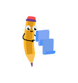 cute yellow pencil character vector image vector image