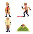 detective character with magnifying glass vector image vector image