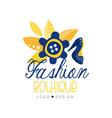 fashion boutique logo design clothes shop dress vector image vector image