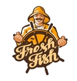 fisherman logo fisher angler or fishing vector image vector image