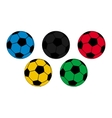 Five colored footballs on a white background vector image vector image