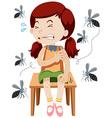 Girl being bitten by mosquitos vector image vector image