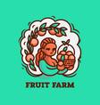 girl farmer with a basket fruit vector image vector image