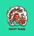 girl farmer with a basket of fruit vector image vector image