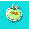 green apple with stem and vector image vector image