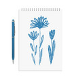 hand drawn ink flowers or sketchy herbal elements vector image