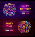 happy birthday website banners vector image vector image