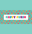 happy purim banner with funny hamantashen vector image vector image