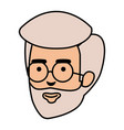 head old man with beard and glasses avatar vector image
