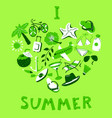 Heart shape with summer objects beach items in vector image