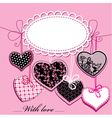 Holiday background with black and pink hearts vector