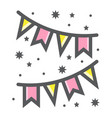 holiday flags garlands filled outline icon vector image vector image