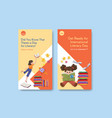 instagram template with international literacy vector image vector image