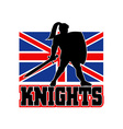 Knight with sword shield GB British Flag vector image vector image