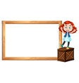 Little girl standing on box and border vector image