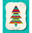 Merry Christmas Pine tree design in fun colors vector image