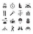 Mountain Climbing Black White Icons Set vector image vector image
