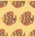 ornated fish pattern with yellow background vector image