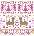 pattern with deers trees and snowflakes vector image