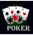 Poker symbol with aces and gambling chips vector image