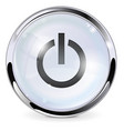 power button white glass button with chrome frame vector image vector image