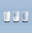 realistic empty half and full of milk transparent vector image vector image