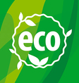 Round eco logo on a green background vector image vector image