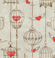 Seamless pattern with birds cage and hearts vector image vector image