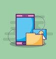 smartphone with folder picture album vector image