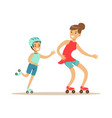 smiling woman and boy roller skating mom and son vector image vector image