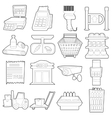 Supermarket items icons set outline cartoon style vector image vector image