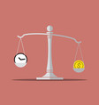 time and money on balance scale vector image