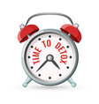 time to detox sign on alarm clock agitation poster vector image vector image