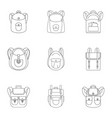 trip backpack icon set outline style vector image vector image