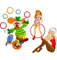 two gymnasts and a clown vector image vector image